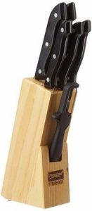 Prestige Kitchen Knife Set with Wooden Block and Free Peeler