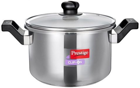 Prestige Clip On 5 liters Stainless Steel Pressure Cooker Glass Lid